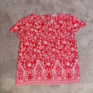 Floral pattern, red blouse.